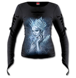 Ice Queen - Slashed Goth Glove Top Black