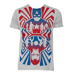 Men's CAPTAIN AMERICA Opposing Forces Cotton Blend Grey T-Shirt