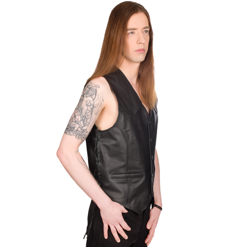 Mode Wichtig Mens Biker Vest Buffalo Leather