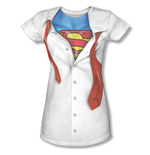 SUPERMAN Tie Costume Sublimation Juniors White T-Shirt