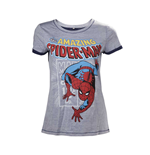 MARVEL COMICS Spider-Man Adult Female Crawling T-Shirt, Small, Grey