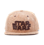 STAR WARS Unisex Embroidered Main Logo Snapback Baseball Cap, One Size, Tan/Cork