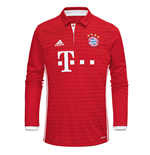 2016-2017 Bayern Munich Adidas Home Long Sleeve Shirt (Kids)