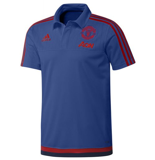 2015-2016 Man Utd Adidas Training Polo Shirt (Royal Blue) - Kids