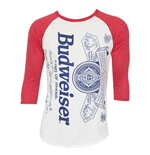 Men's BUDWEISER Label Red Baseball T-Shirt