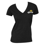 Women's Corona Deep V Black T-Shirt