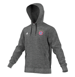 2016-2017 Bayern Munich Adidas 3S Hooded Zip (Grey)