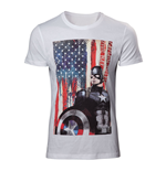 MARVEL COMICS Adult Male Captain America: Civl War Stars and Stripes T-Shirt, Small, White