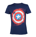 MARVEL COMICS Adult Male Swirling Captain America Shield T-Shirt, Small, Navy Blue