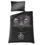 Black Cat - Single Duvet Cover + UK And EU Pillow case