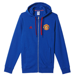 2016-2017 Man Utd Adidas 3S Hooded Zip (Royal Blue)