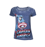 MARVEL COMICS Captain America Adult Female Super-Powered Solider Faded T-Shirt, Small, Blue