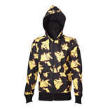 POKEMON Adult Male Pikachu All-over Full Length Zipper Hoodie, Small, Black/Yellow