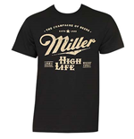 MILLER High Life Black Beer Logo Tee Shirt