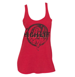 MILLER High Life Beer Faded Lady Red Racerback Ladies Tank Top