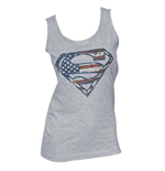 SUPERMAN Grey American Flag Logo Women's Tank Top