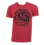 GAME OF THRONES Red Men's Targaryen Fire Blood Tee Shirt