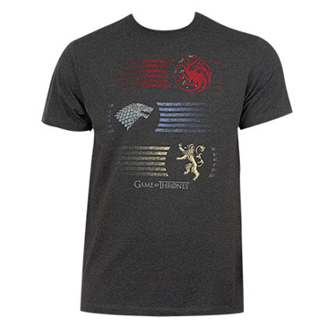 Game of thrones grey men 39 s stripes logo tee shirt for only for Game t shirts uk