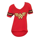 Wonder Woman Red Juniors Foil Logo Tee Shirt