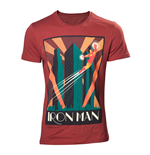MARVEL COMICS Adult Male Art Deco Flying Iron Man T-Shirt, Small, Red