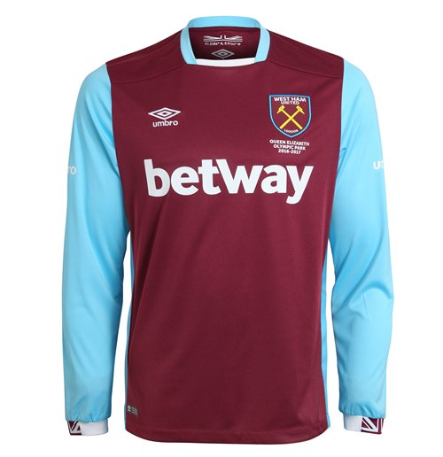 2016 2017 West Ham Home Long Sleeve Football Shirt For