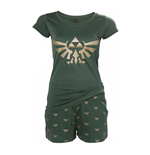 NINTENDO Legend of Zelda Hyrule Royal Crest Shortama Nightwear Set, Large, Green