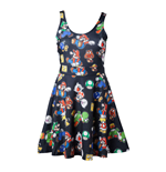 NINTENDO Super Mario Bros. Female Characters & Icons Sleeveless Dress, Extra Large, Black