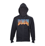 DOOM Men's Full Length Zipper Vintage Logo Hoodie, Small, Black