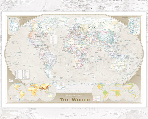 World Map Triple Mini Poster