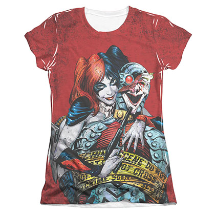 Batman HARLEY QUINN Crime Scene Sublimation Juniors Tee Shirt