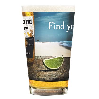 CORONA EXTRA Beach Print Pint Glass