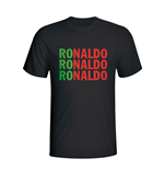 Cristiano Ronaldo Portugal Player Flag T-shirt (black) - Kids