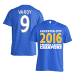 Leicester City 2016 Premier League Champions T-Shirt (Vardy 9) Blue - Kids