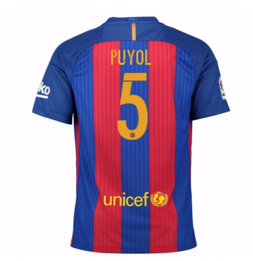 2016-17 Barcelona Sponsored Home Shirt (Puyol 5) - Kids