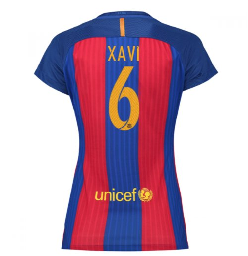 2016-17 Barcelona with Sponsor Womens Home Shirt (Xavi 6)