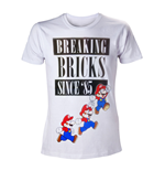 Nintendo - T-shirt White Breaking Bricks Mario's