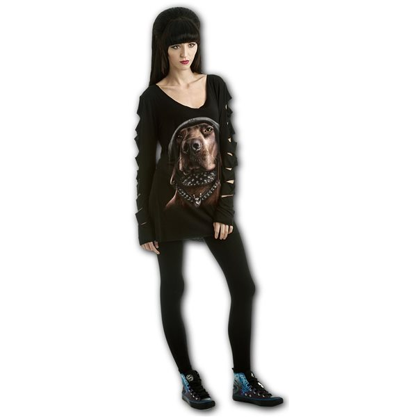 Dawg - Slashed Sleeve Boatneck Top