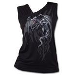 DRAGON'S Cry - Gathered Shoulder Slant Vest Black