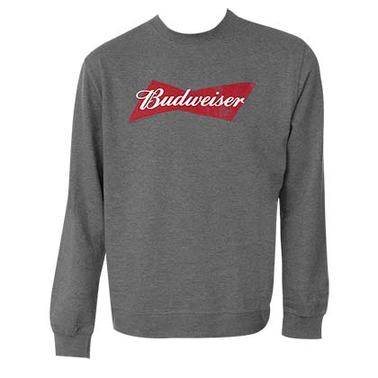 BUDWEISER Bowtie Logo Grey Cotton Crewneck Sweatshirt