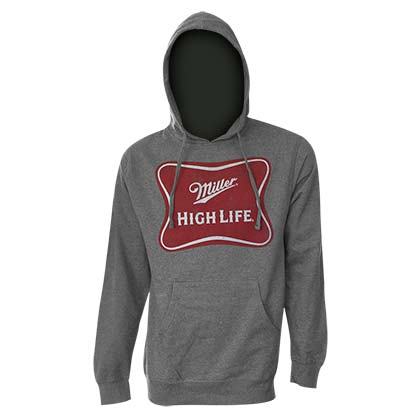 MILLER High Life Logo Heath Grey Hooded Sweatshirt