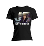 Justin Bieber Ladies Tee: Photo Black