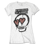 5 Seconds of Summer Ladies Tee: Heart Skull