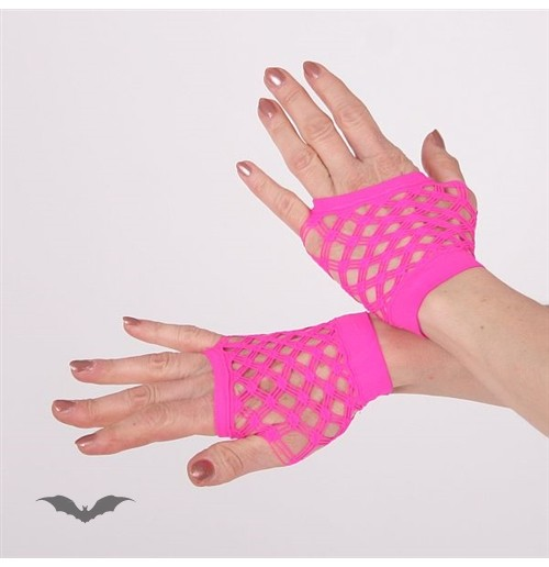 Hot pink double net gloves, short