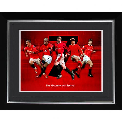 Manchester United F.C. Historic Moments Picture Magnificent 7s 16x20