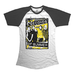 5 Seconds of Summer Ladies Raglan Tee: Splatter