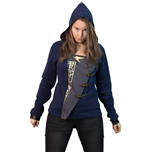 DISHONORED 2 Women's Emily 'Empress' Full Length Zipper Hoodie with Asymmetric Fabric Closure, Medium, Dark Blue/Grey