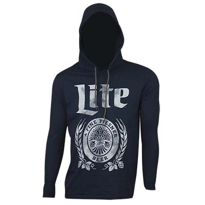 MILLER Lite Long Sleeve Hooded Navy Lightweight Shirt