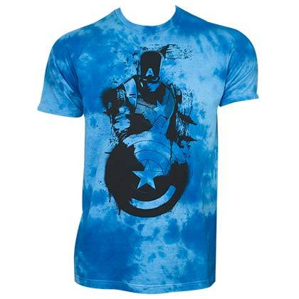 CAPTAIN AMERICA Cloud Wash Blue Tee Shirt
