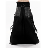 Long black skirt with metal look pockets