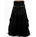 Long black skirt with many zippers